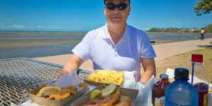 Gary with fish and chips at Sandgate Gary Lum