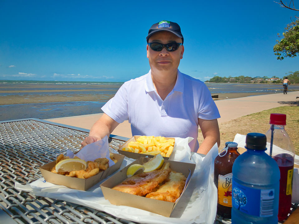 Gary with fish and chips at Sandgate Gary Lum