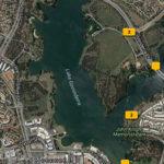 Map of Lake Ginninderra with markers where I shot photographs Gary Lum