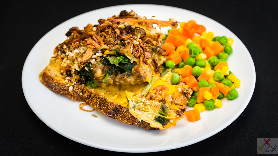 Spicy and crispy pork and beef cheese pie with vegetables Gary Lum