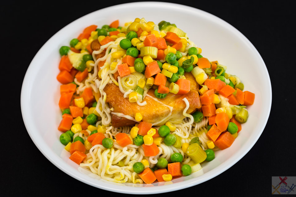 Hot and spicy pay day Spam with Coon cheese noodles and vegetables Gary Lum