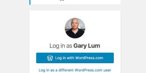 The usual dialogue box when entering the WordPress dashboard Gary Lum